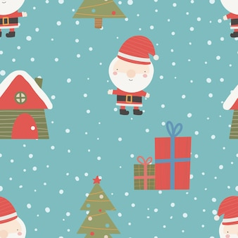 Padrão de natal sem costura com neve de árvore de natal e presentes enfeites de natal