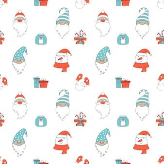 Padrão de natal sem costura com papai noel, gnomos e boneco de neve. v