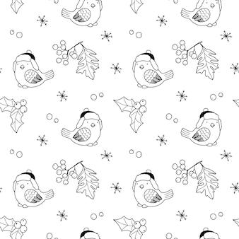 Padrão de natal sem costura com pássaros, bagas de azevinho e elementos de férias