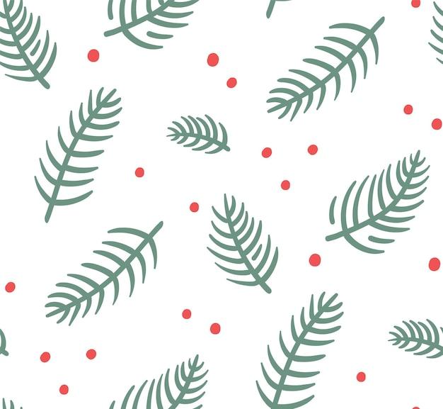 Padrão de natal sem costura com ramos de pinheiro