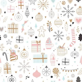 Padrão de natal sem costura natal e inverno