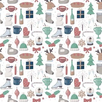 Padrão de natal sem emenda do vetor. ícones bonitos dos desenhos animados no tema de ano novo para a decoração do fundo e papel de embrulho.