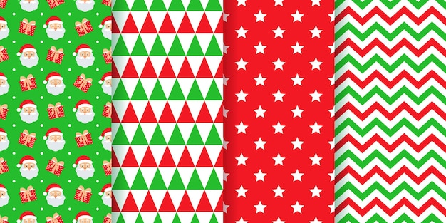 Padrão de natal. texturas festivas de ano novo definir estampas geométricas.