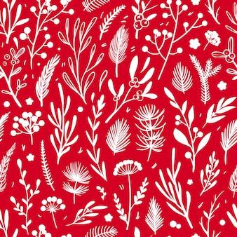 Padrão de natal vermelho padrão sem emenda de vetor com elementos florais brancos em fundo vermelho