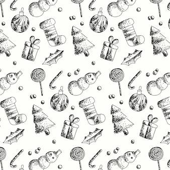 Padrão de natal vintage design plano