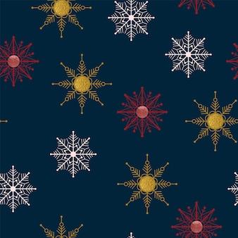 Padrão de natureza de natal sem costura floresta de inverno fundo azul escuro textura de floco de neve dourado