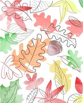 Padrão de natureza outono aquarela