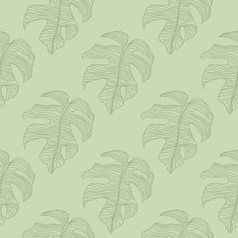 Padrão de natureza perfeita em tons pastel com formas com contornos verdes doodle monstera.