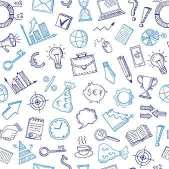Padrão de negócios com ícones de doodle