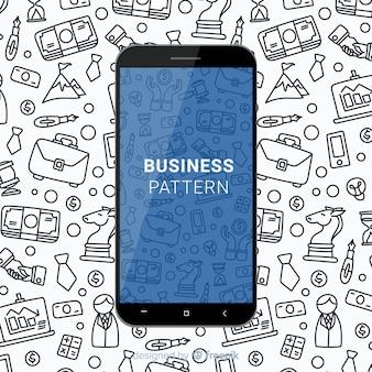 Padrão de negócios desenhado mão móvel