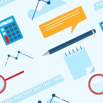 Padrão de negócios plana leigos com o bloco de notas, calculadora, régua, vidro de lupa, caneta esferográfica e gráfico