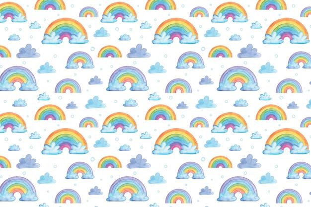 Padrão de nuvens e arco-íris em aquarela