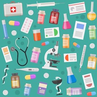 Padrão de objetos médicos com prescrições de equipamentos e instrumentos comprimidos e cápsulas