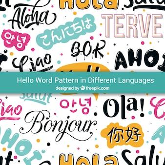 Padrão de olá de mão desenhada em diferentes idiomas