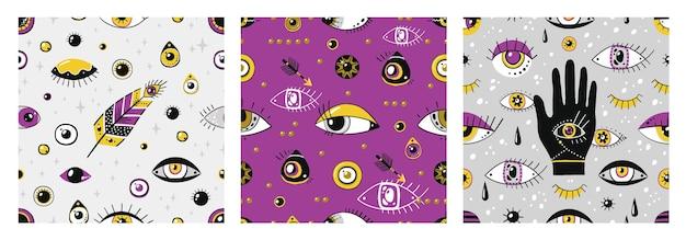 Padrão de olhos do doodle. elementos gregos contemporâneos desenhados à mão, textura étnica sem costura na moda com símbolos de olhos malignos. ilustração vetorial vintage padrão místico