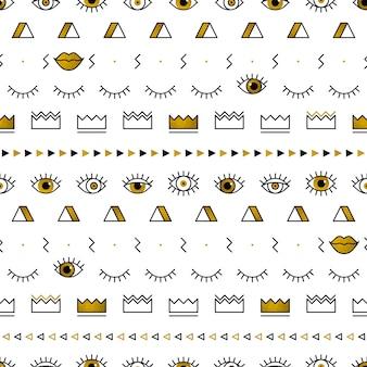 Padrão de olhos dourados com formas geométricas no estilo de memphis.