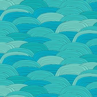 Padrão de onda azul com mão desenhada fundo