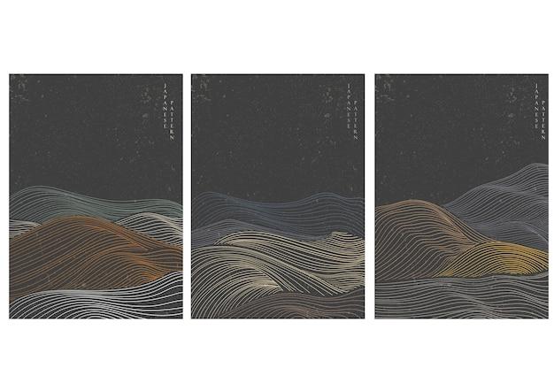 Padrão de onda desenhada de mão japonesa com fundo abstrato. elemento de curva em estilo oriental.