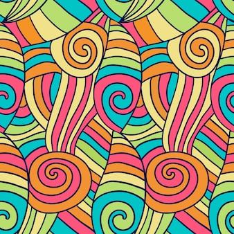 Padrão de ondas abstratas de colorfu. fundo ondulado espiral desenhado à mão. vector textura de coloração étnica.