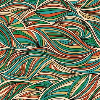 Padrão de ondas desenhadas à mão abstrata sem costura