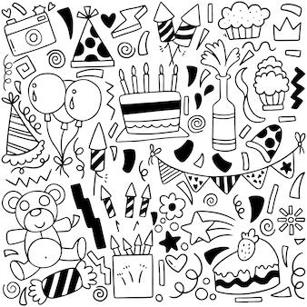 Padrão de ornamentos de aniversário pintados à mão
