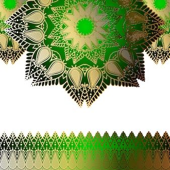 Padrão de ouro de convite verde na forma de uma mandala e cachos nas bordas.
