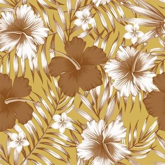 Padrão de ouro de folhas de palmeira marrom de hibisco