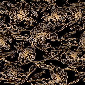 Padrão de ouro floral em fundo preto.