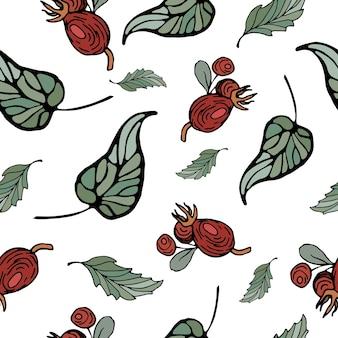 Padrão de outono de folhas e frutas de vetor brilhante estilo desenhado à mão bagas suculentas e folhas verdes