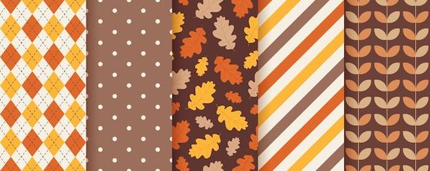 Padrão de outono definir texturas sazonais.