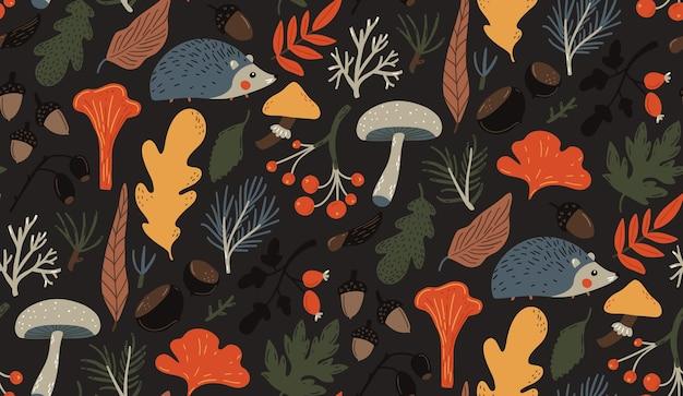 Padrão de outono outono sem costura fundo amarelo laranja folhas cogumelos, bagas e ouriço