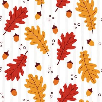 Padrão de outono sem costura com elementos de carvalho
