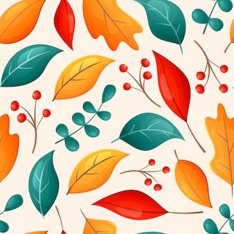 Padrão de outono sem emenda brilhante de vetor. desenhos animados de folhas de carvalho caídas secas, galhos e bagas.