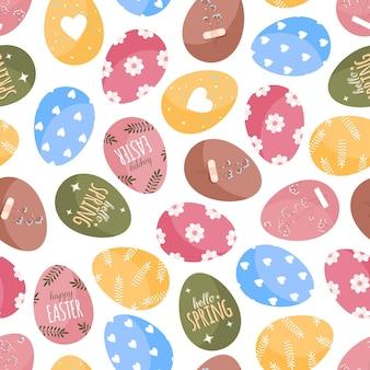 Padrão de ovos de páscoa em estilo plano de desenho animado em um fundo branco