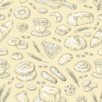 Padrão de padaria desenhada de mão. pão e bolos vintage doodle desenho