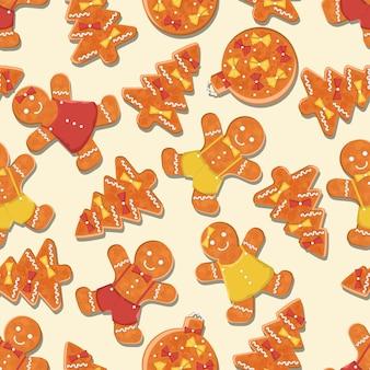 Padrão de pães masculinos e com ilustração vetorial de árvore de pão de mel e bola de natal