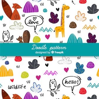 Padrão de palavras e animais desenhados a mão