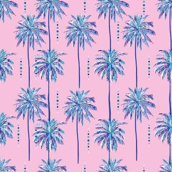 Padrão de palmeiras doce sem costura verão no doce fundo rosa