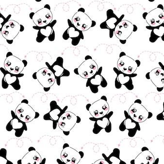 Padrão de panda bonito desenhado de mão