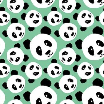 Padrão de panda de cabeça de animal extravagante padrão sem costura