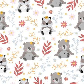Padrão de panda e coala fofo