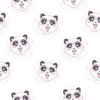 Padrão de panda sem costura dos desenhos animados