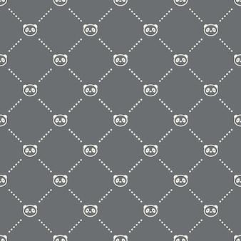 Padrão de panda sem costura em um fundo escuro. design criativo do ícone do panda. pode ser usado para papel de parede, fundo de página da web, têxtil, impressão ui / ux