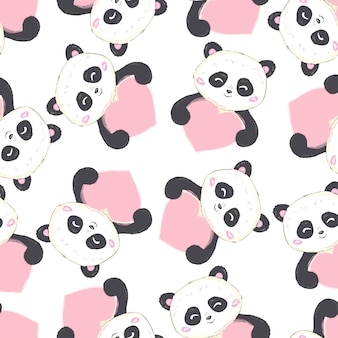 Padrão de panda sem emenda de desenhos animados