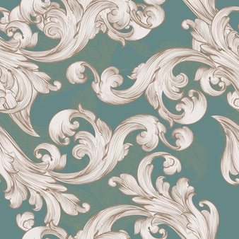Padrão de papel de parede retrô com redemoinho elemento floral