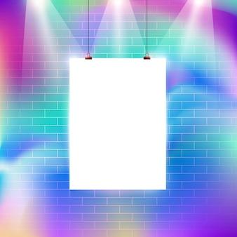 Padrão de parede de tijolos colorido com design de ilustração vetorial do quadro de avisos em branco