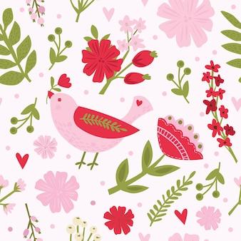 Padrão de pássaro bonito de vetor sem costura provence com flor de papoula selvagem em um estilo simples. animal de tecido floral, ilustração de verão em um fundo branco.