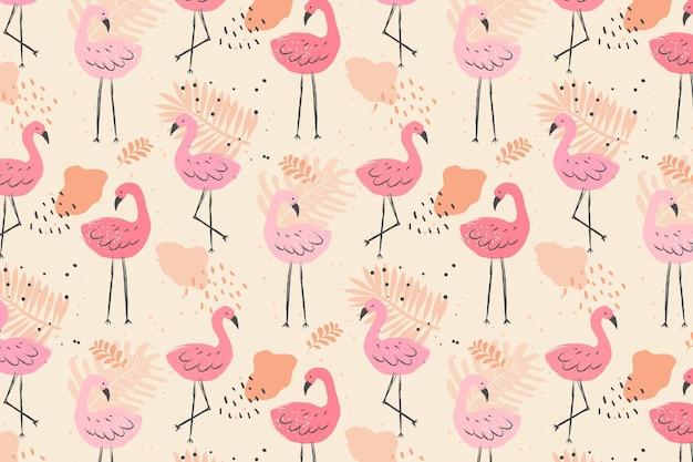 Padrão de pássaro flamingo colorido pálido