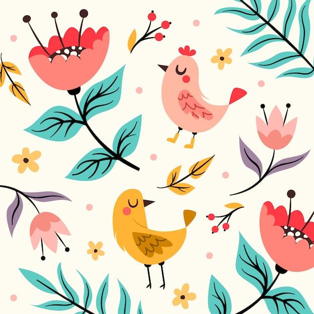 Padrão de pássaro primavera com flores