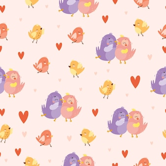 Padrão de pássaros apaixonados
